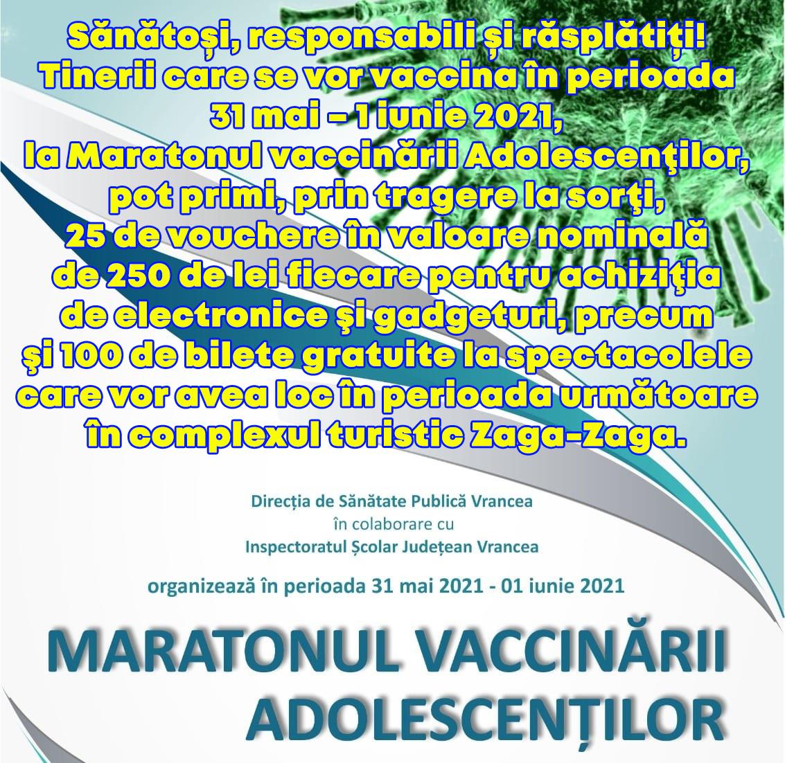 Vouchere în valoare de 250 de lei pentru achiziţia de electronice şi gadgeturi şi 100 de bilete gratuite pentru spectacole la Zaga-Zaga pentru tinerii care se imunizează la Maratonul vaccinării adolescenţilor post thumbnail