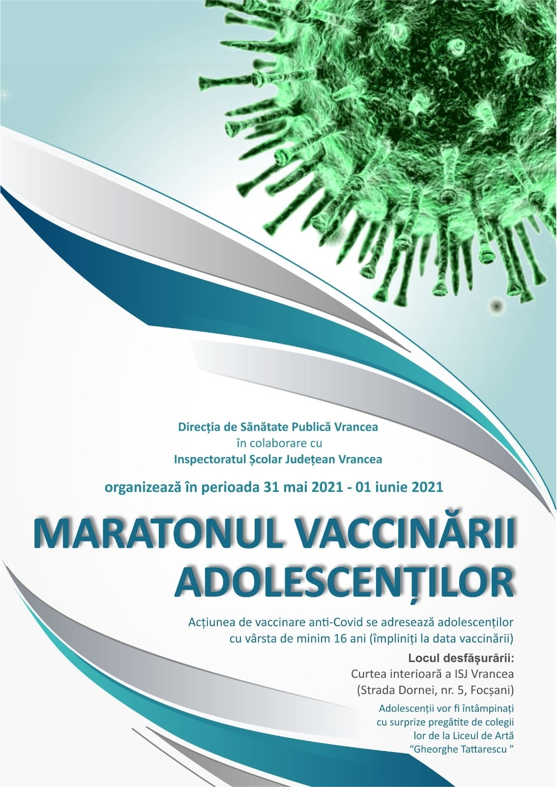 Maratonul vaccinării adolescenților – 31 mai – 1 iunie 2021 post thumbnail